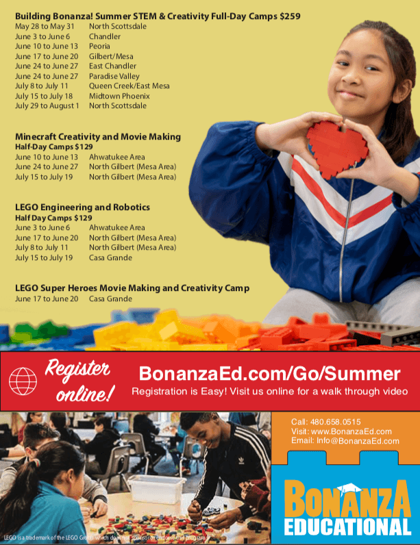 The back page of our flyer for our STEM & Creativity Summer Camps.