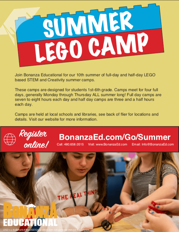 The front page of our flyer for our STEM & Creativity Summer Camps.